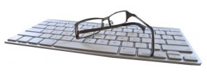 Glasses on Computer Keyboard 1280x480 1024x384 1